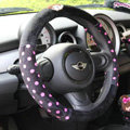 Fun Monchhichi Auto Polka Dot Velvet Steering Wheel Covers 15 inch 38CM - Black