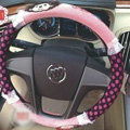 Fun Monchhichi Auto Polka Dot Velvet Steering Wheel Covers 15 inch 38CM - Pink