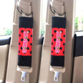 Funky Mocmoc Velvet Polka Dot Car Seat Strap Covers Car Decoration 2pcs - Red Black