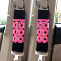 Funky Mocmoc Velvet Polka Dot Car Seat Strap Covers Car Decoration 2pcs - Rose Black