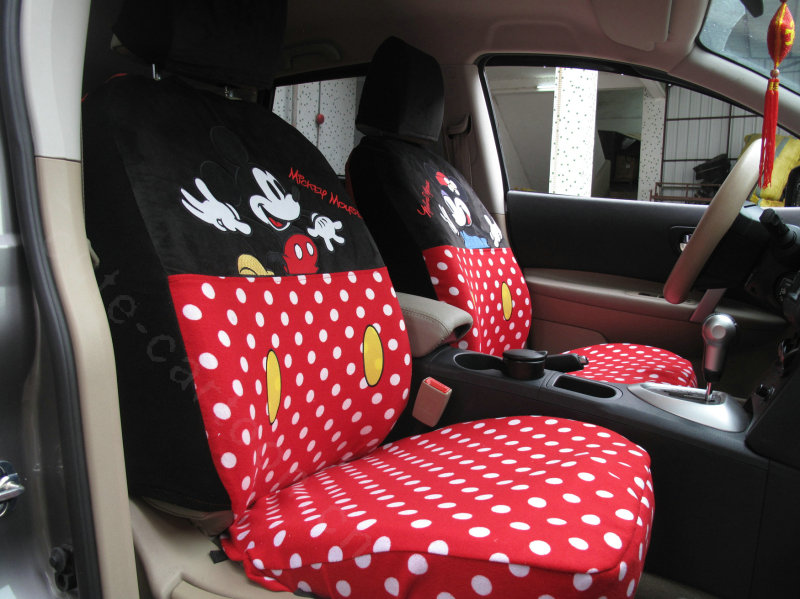 buy wholesale cute mickey minnie mouse universal auto car seat covers velvet full set 10pcs. Black Bedroom Furniture Sets. Home Design Ideas