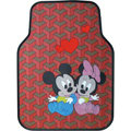 Hologram Mickey Minnie Mouse Universal Auto Carpet Custom Floor Mats Rubber 5pcs Sets - Red