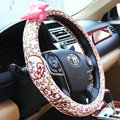 Lovely Mocmoc Auto Leopard Print Cotton Steering Wheel Covers 15 inch 38CM - Pink