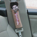 Lovely Monchhichi Velvet Automotive Seat Safety Belt Covers Car Decoration 2pcs - Brown