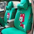 Personalized Ali Universal Auto Seat Cover For Car Velvet Full Set 18pcs - Green