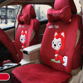 Personalized Ali Universal Auto Seat Cover For Car Velvet Full Set 18pcs - Red