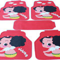 Personalized Ddung Universal Automobile Carpet Floor Mats For Cars Rubber 5pcs Sets - Red