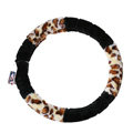 Pretty Mickey Mouse Leopard Print Auto Velvet Steering Wheel Covers 15 inch 38CM - Black