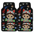 Pretty Monchhichi Cat Universal Auto Carpet Custom Floor Mats Rubber 5pcs Sets - Black
