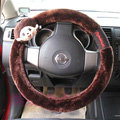 Quality Monchhichi Auto Velvet Steering Wheel Covers 15 inch 38CM - Brown
