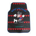 Red Pattern Mickey Mouse Universal Auto Carpet Custom Floor Mats Rubber 5pcs Sets - Black