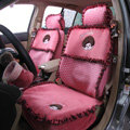 Bud Silk Monchhichi Universal Auto Car Seat Covers Velvet Full Set 10pcs - Rose