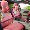 Bud Silk Monlill Universal Auto Car Seat Covers Velvet Full Set 17pcs - Rose