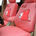 Cooling Peach Ali Universal Auto Car Seat Cover Cotton Full Set 10pcs - Rose