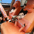 Elegant Monchhichi Universal Auto Dot Seat Cover For Cars Velvet Full Set 18pcs - Orange