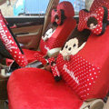 Elegant Monchhichi Universal Auto Dot Seat Cover For Cars Velvet Full Set 18pcs - Red