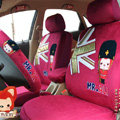 Elegant Peach Ali Universal Auto Car Seat Covers Velvet Full Set 10pcs - Rose