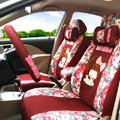 Floral Mocmoc Universal Auto Seat Cover For Car Sandwich Fabric Full Set 15pcs - Red