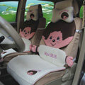 Fluffy Monchhichi Universal Auto Car Seat Covers Ice Silk Full Set 12pcs - Grey