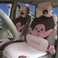 Fluffy Monchhichi Universal Auto Car Seat Covers Ice Silk Full Set 12pcs - Pink