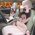 Fluffy Monchhichi Universal Auto Car Seat Covers Ice Silk Full Set 12pcs - Red