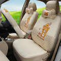 Furry Rilakkuma Universal Auto Seat Cover For Cars Ice Silk Full Set 18pcs - Beige