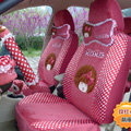 Fuzzy Mocmoc Universal Auto Dot Seat Cover For Cars Velvet Full Set 18pcs - Rose