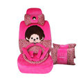 Leopard Print Monchhichi Universal Auto Seat Cover For Cars Velvet Full Set 20pcs - Rose