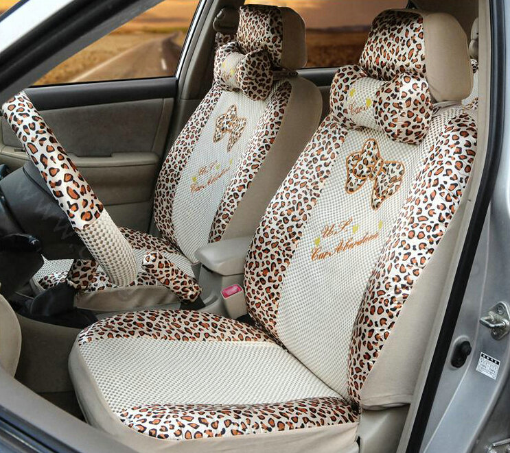 buy wholesale leopard print universal auto customer car seat covers ice silk full set 22pcs. Black Bedroom Furniture Sets. Home Design Ideas