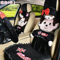 Luxury Monchhichi Universal Auto Bud Silk Seat Covers Velvet Full Set 10pcs - Black