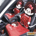 Luxury Monchhichi Universal Auto Car Seat Covers Velvet Full Set 10pcs - Red