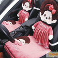 Luxury Monchhichi Universal Auto Car Seat Covers Velvet Full Set 10pcs - Rose