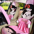 Luxury Monchhichi Universal Auto Seat Covers Velvet Full Set 10pcs - Pink