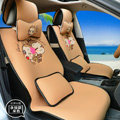 Pretty YoCi Monkey Universal Auto Seat Cover For Car Sandwich Fabric Full Set 15pcs - Beige