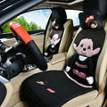 Quality Monchhichi Universal Auto Car Seat Covers Ice Silk Full Set 9pcs - Black