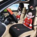 Quality Monchhichi Universal Auto Car Seat Covers Ice Silk Full Set 9pcs - Red Black
