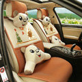 Quality Winnie the Pooh Universal Auto Seat Cover For Car Sandwich Fabric Full Set 10pcs - Brown
