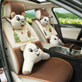Quality Winnie the Pooh Universal Auto Seat Cover For Car Sandwich Fabric Full Set 10pcs - Coffee