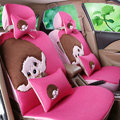 Simple Monchhichi Universal Auto Car Seat Covers Fiber Cloth Full Set 11pcs - Rose
