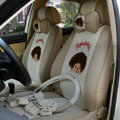 Unique Monchhichi Universal Auto Seat Cover For Cars Sandwich Fabric Full Set 18pcs - Beige
