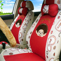 Unique Monchhichi Universal Auto Seat Cover For Cars Sandwich Fabric Full Set 18pcs - Red