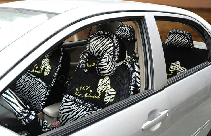 buy wholesale zebra print universal auto customer car seat covers ice silk full set 22pcs. Black Bedroom Furniture Sets. Home Design Ideas