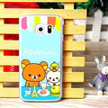 Floral Matte Rilakkuma Hard Back Covers For Samsung Galaxy S6 Edge G9250 - Blue
