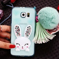 Furry Rabbit Crystal Silicone Covers For Samsung Galaxy S6 Edge G9250 - Green