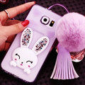 Furry Rabbit Crystal Silicone Covers For Samsung Galaxy S6 Edge G9250 - Purple